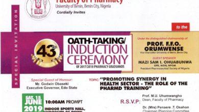 Photo of University Of Benin 43rd Oath-Taking/Induction Ceremony of Pharmacy Graduands