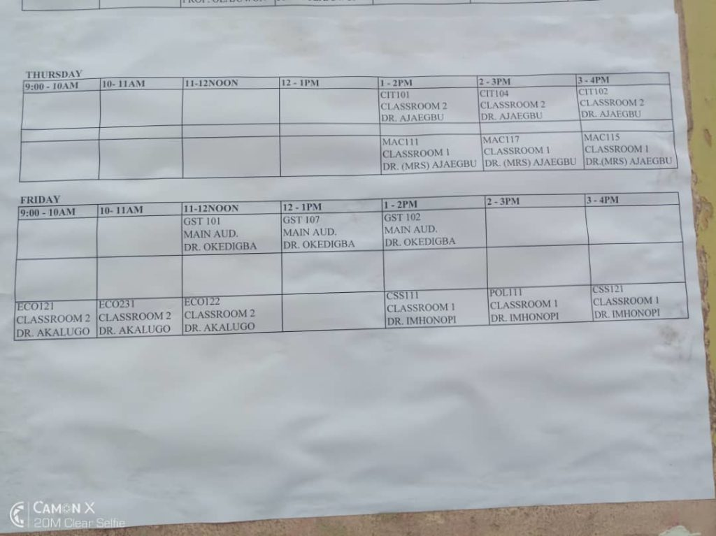 NOUN Facilitation Timetable 2019